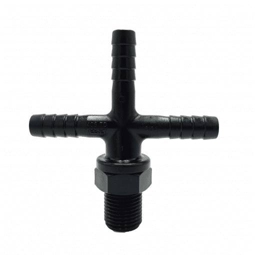 "TeeJet 8124-NYB-406TD | 11/16"" Male Thread to 3/8"" Triple Barb Tee"