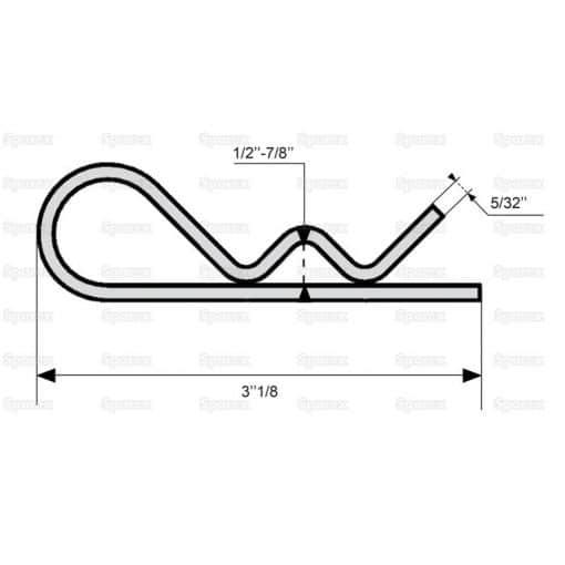 Sparex S.12 - Grip Clip – Single Wound, Clip Ø4mm x 79mm - Dimensions 3