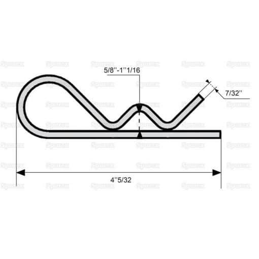 Sparex S.13 - Grip Clip - Single Wound, Clip Ø5mm x 105mm - Dimensions 3