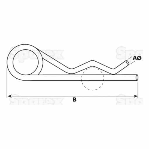 Sparex S.13 - Grip Clip - Single Wound, Clip Ø5mm x 105mm - Dimensions