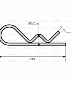 Sparex S.14 - Grip Clip - Single Wound, Clip Ø6mm x 120mm - Dimensions 3