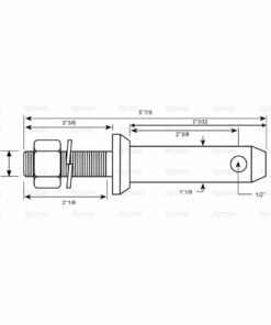 Sparex S.197 Lower Link Implement Mounting Pin (Cat. 2) - Dimensions 2