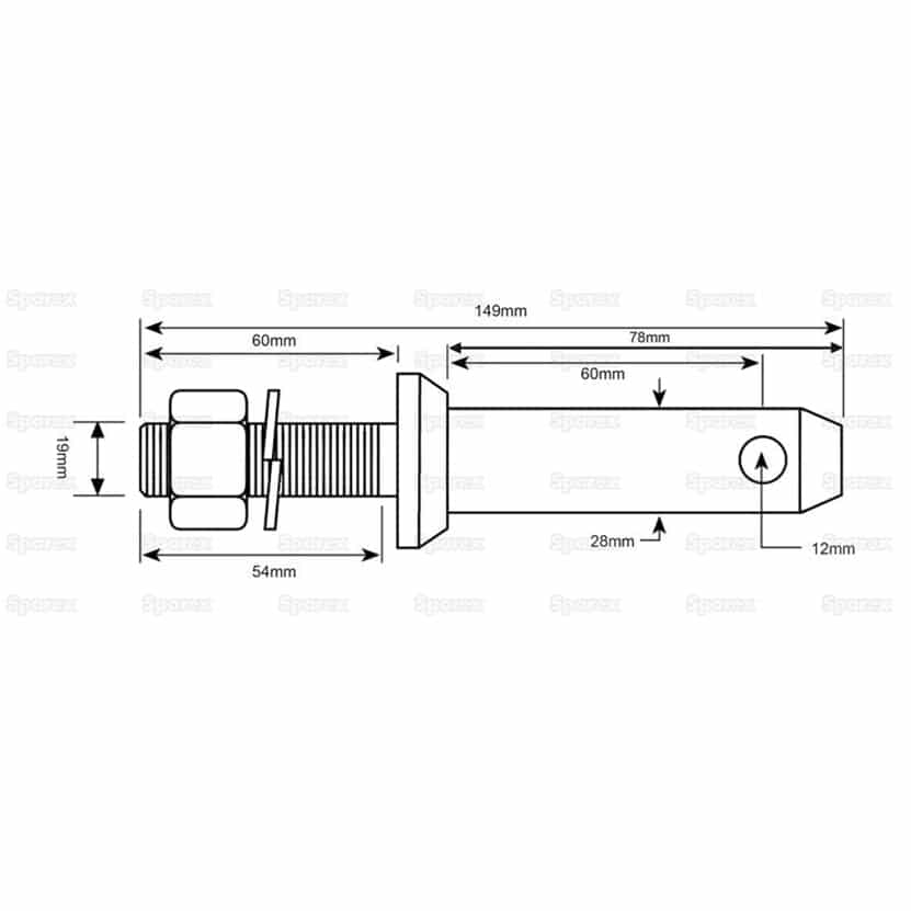 Sparex S.197 Lower Link Implement Mounting Pin (Cat. 2) - Dimensions
