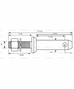 Sparex S.198 Lower Link Implement Mounting Pin (Cat 2.) - Dimensions 2