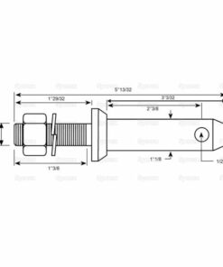 Sparex S.202 Lower Link Implement Mounting Pin (Cat. 2) - Dimensions 2