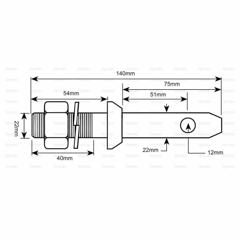 Sparex S.220 Lower Link Implement Mounting Pin (Cat. 1) - Dimensions 2