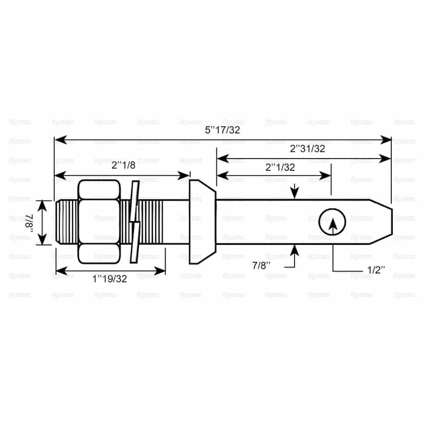 Sparex S.220 Lower Link Implement Mounting Pin (Cat. 1) - Dimensions