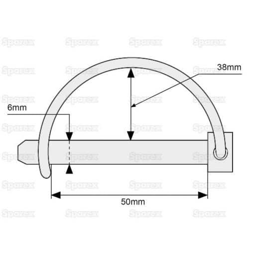 Sparex S.271 Shaft Locking Pin, Pin Ø6mm x 50mm - Dimensions