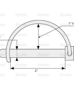 Sparex S.271 Shaft Locking Pin, Pin Ø6mm x 50mm - Dimensions 2