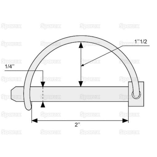 Sparex S.271 Shaft Locking Pin, Pin Ø6mm x 50mm - Dimensions 2