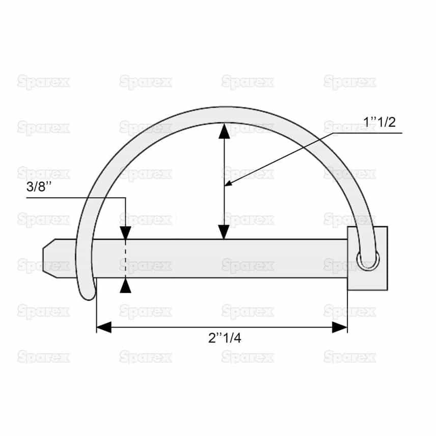 Sparex S.273 - Shaft Locking Pin, Pin Ø9.5mm x 57mm- Dimensions 2