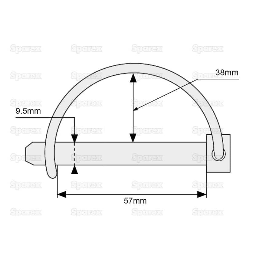 Sparex S.273 - Shaft Locking Pin, Pin Ø9.5mm x 57mm- Dimensions