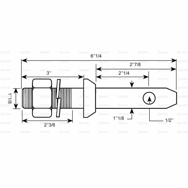 Sparex S.3006 - Lower Link Implement Mounting Pin (Cat. 2) - Dimensions 2
