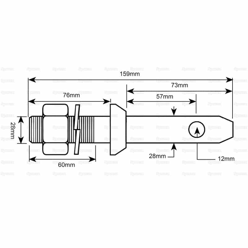 Sparex S.3006 - Lower Link Implement Mounting Pin (Cat. 2) - Dimensions