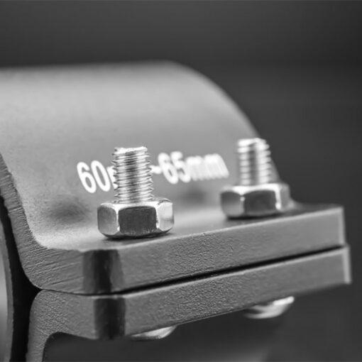 60mm to 65mm Tube Clamp Bull Bar Mounting Brackets Black Closeup