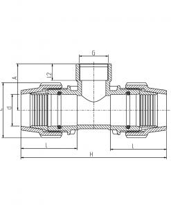 7140 Metric F-Threaded Offtake Tee Diagram